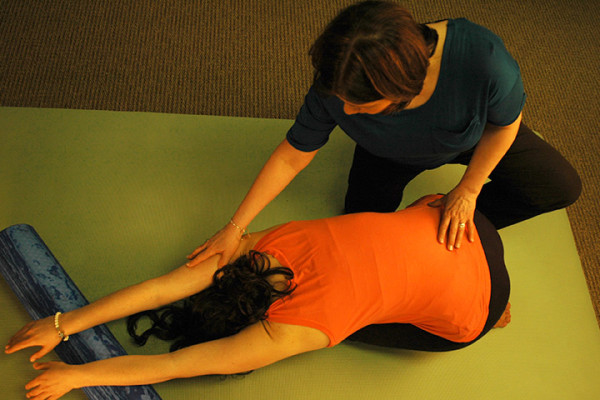 Debra Goldman physiotherapist stretching patient